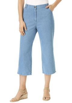 Cotton Capri Jean, LIGHT STONEWASH