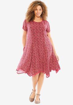Short Crepe Dress, SUNSET CORAL FLORAL MEDALLION, hi-res