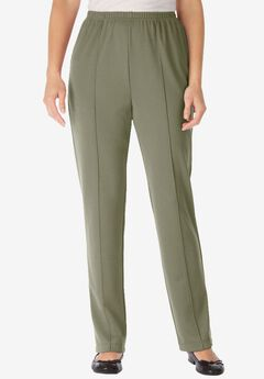 Wrinkle and Stain-Resistant Knit Pant by Only Necessities®, OLIVE GREY, hi-res