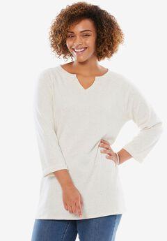 Speckled Notch Neck Sweatshirt,