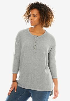 Thermal high-low Henley tunic, HEATHER GREY, hi-res
