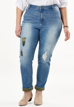 Stretch Plaid Patch Girlfriend Jean, CAMO PATCH DESTRUCTION, hi-res
