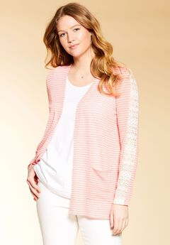 Lace inset cardigan sweater by Chelsea Studio®, CORAL, hi-res