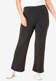 Stretch Cotton Wide Leg Pant, HEATHER CHARCOAL, hi-res