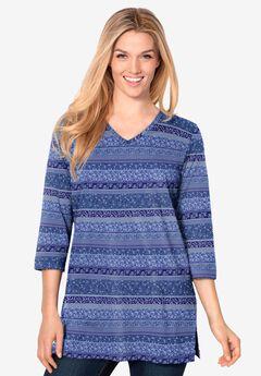 Perfect Printed Three-Quarter-Sleeve V-Neck Tunic, ROYAL NAVY PATCHWORK STRIPE