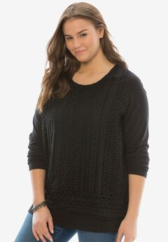 Crochet front tee, BLACK, hi-res