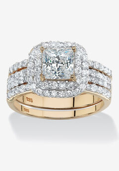 Cubic Zirconia Princess-Cut Bridal Ring Set in Gold over Silver,
