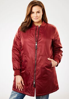 Long Bomber Jacket, ANTIQUE MAROON, hi-res