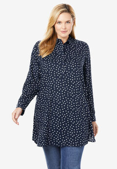 Long-Sleeve Half-Placket Tunic,
