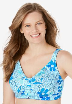 Unlined Wireless Bra by Comfort Choice®, TURQUOISE MOSAIC
