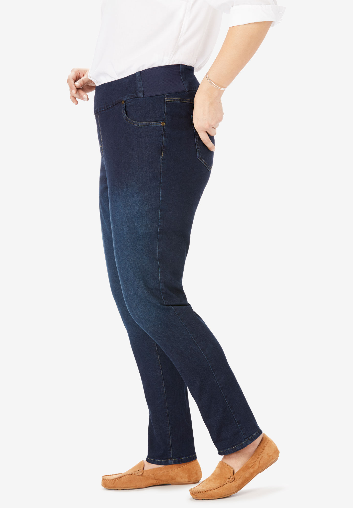 Woman Within Womens Plus Size Petite Smooth Waist Skinny Jean