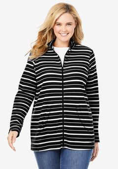 Long-Sleeve Zip Front Jacket,