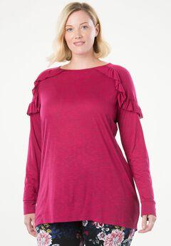 Space-Dye Ruffle Shoulder Tunic by Chelsea Studio®,