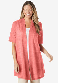 Lightweight Open Front Cardigan, SWEET CORAL