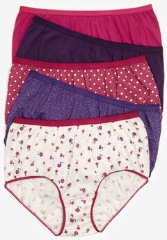 5-Pack Pure Cotton Full-Cut Brief by Comfort Choice®, MULTI VIOLET PACK