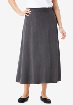 EveryWear Essential A-Line Maxi Skirt, HEATHER CHARCOAL