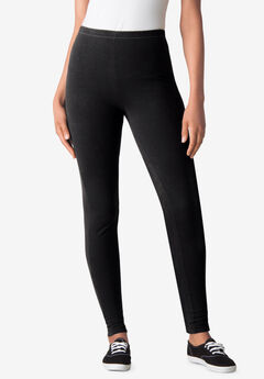 Stretch Cotton Legging, BLACK