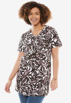 Perfect Printed Shirred V-Neck Tunic, WHITE STENCIL LEAF, hi-res