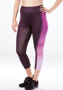 Ombre Capri Legging by fullbeauty SPORT®, PINK OMBRE STRIPE