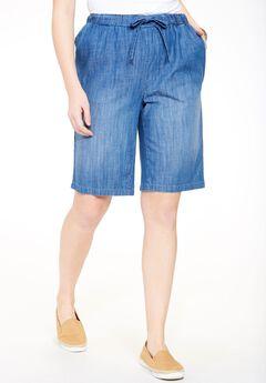Chambray Drawstring Shorts, STONEWASH SANDED, hi-res
