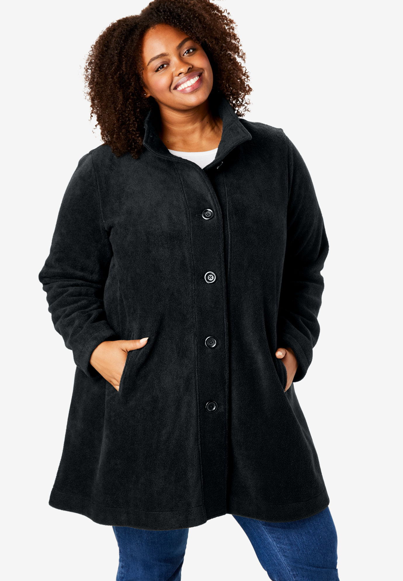 162a7db3b6c Woman Within Plus Size Hooded Berber Fleece Duster Coat Christmas ...