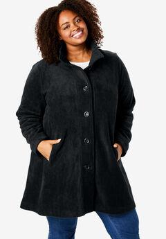 Fleece Swing Funnel-Neck Jacket, BLACK