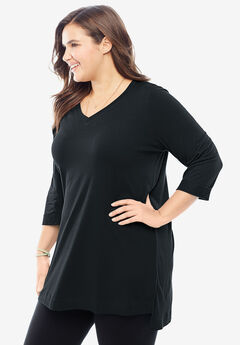 Longer Length Tunic Tee, BLACK, hi-res