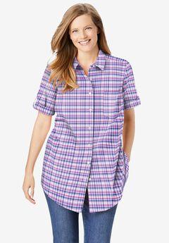 Short Sleeve Button Down Seersucker Shirt,