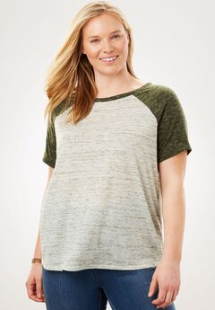Contrast Marled Baseball Tee, FOREST GREEN MARLED COLORBLOCK, hi-res