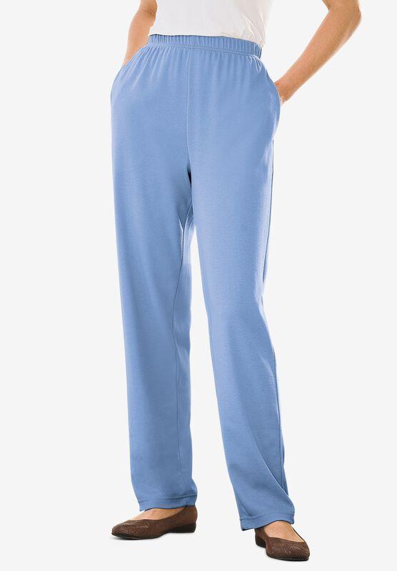 Woman Within Size 2X Petite Purple 7 Day Cotton Straight Leg Pants Pockets