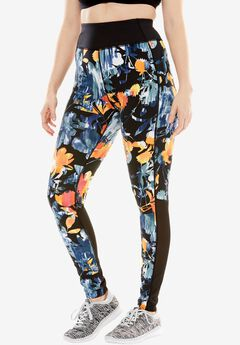 Mesh panel leggings by fullbeauty SPORT®, BLACK WATERCOLOR FLORAL, hi-res
