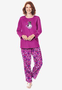 Ladies Womens Purple Blue Soft Knit Loungewear Pyjama Set ~ SIZE 12 14
