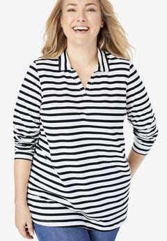 Perfect Striped Open Collar Polo Shirt,