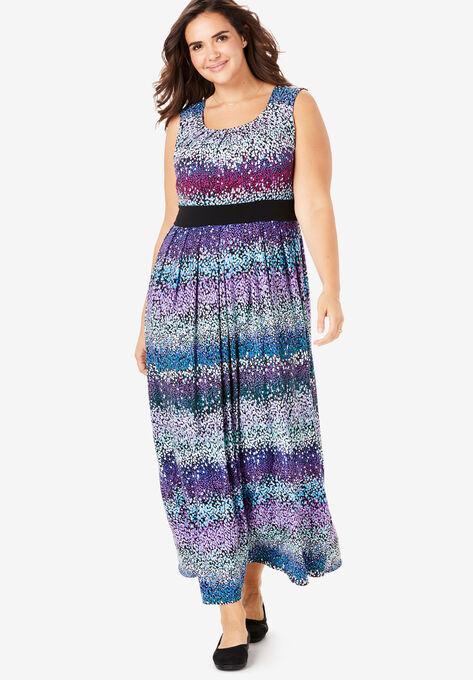 Banded Waist Print Maxi Dress