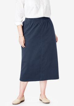 Elastic-Waist Chino Skirt,