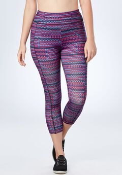 Capri pants by FullBeauty SPORT®, PLUM PURPLE MINI GEO