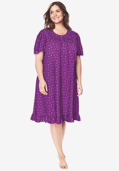 Short Floral Print Cotton Gown , FRESH BERRY FLOWERS