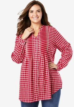 Pintucked Flannel Shirt, CLASSIC RED PLAID
