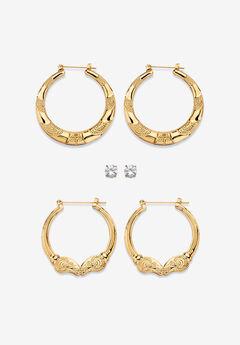 Cubic Zirconia Stud and Hoop Earring Set in Goldtone,