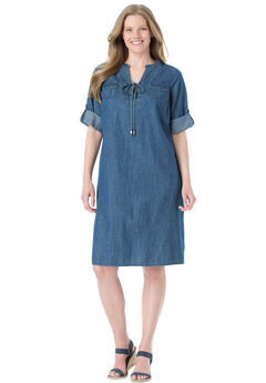 Lace-up denim dress with 3/4 sleeves,