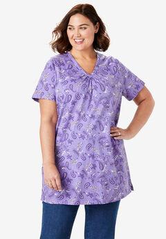 Perfect Printed Shirred V-Neck Tunic,