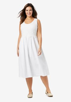 Knit Gauze Crochet Dress,