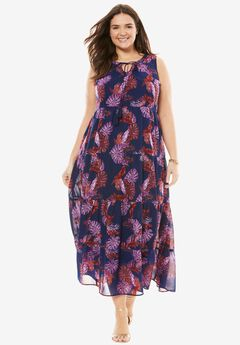 Tiered Tassel-Trim Maxi Dress,
