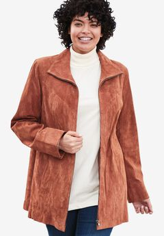 Funnel neck suede jacket,