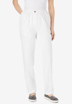 Elastic-Waist Cotton Straight Leg Pant, WHITE