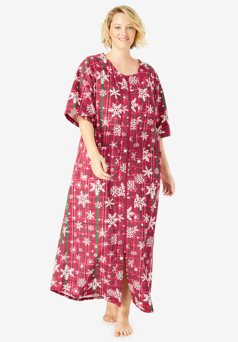 Long French Terry Zip-Front Robe by Dreams   Co.®  46b2e4aba