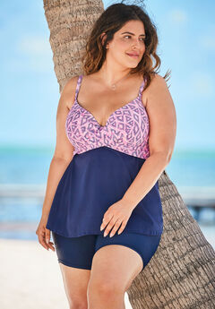 Cross-Front Tankini Top, PINK DIAMOND