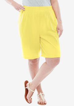 Knit shorts with scoop pockets, full elastic waist,