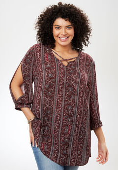 Textured Gauze Shirt, RUBY WINE GEO FLORAL