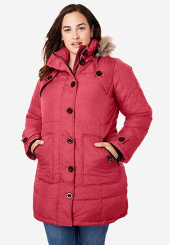 Hooded Down Heathered Puffer Coat,